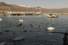 Kastoria lake, winter. North Greece.
